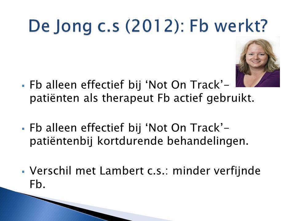 De Jong c.s (2012): Fb werkt Fb alleen effectief bij 'Not On Track'- patiënten als therapeut Fb actief gebruikt.