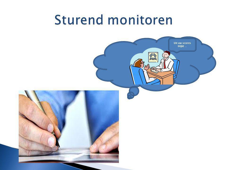 Sturend monitoren Uit uw scores blijkt ..