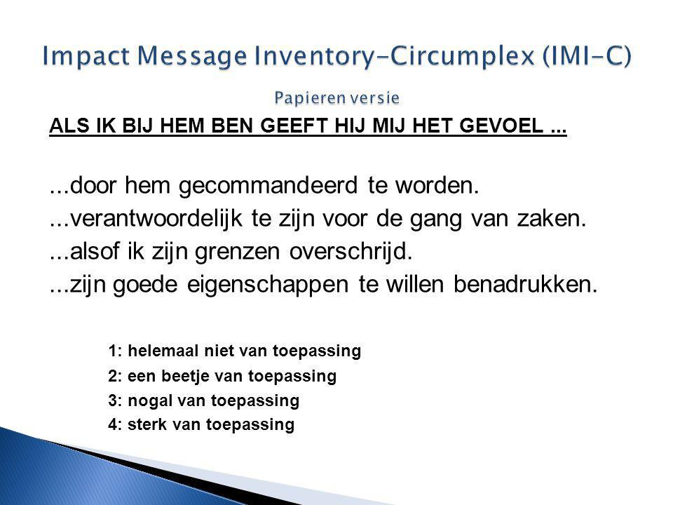 Impact Message Inventory-Circumplex (IMI-C) Papieren versie