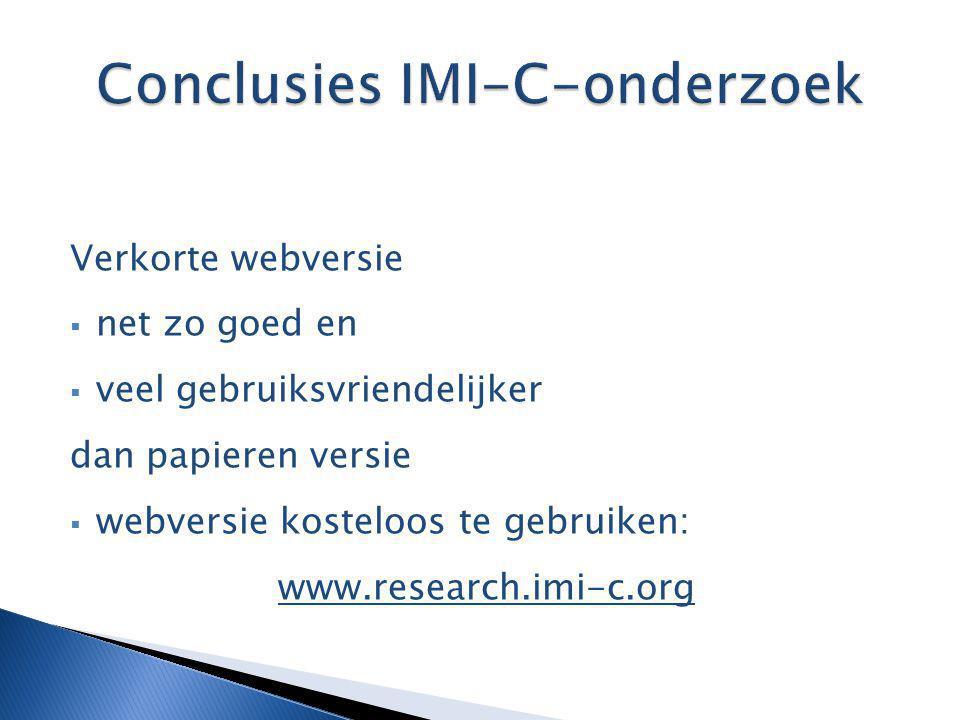 Conclusies IMI-C-onderzoek