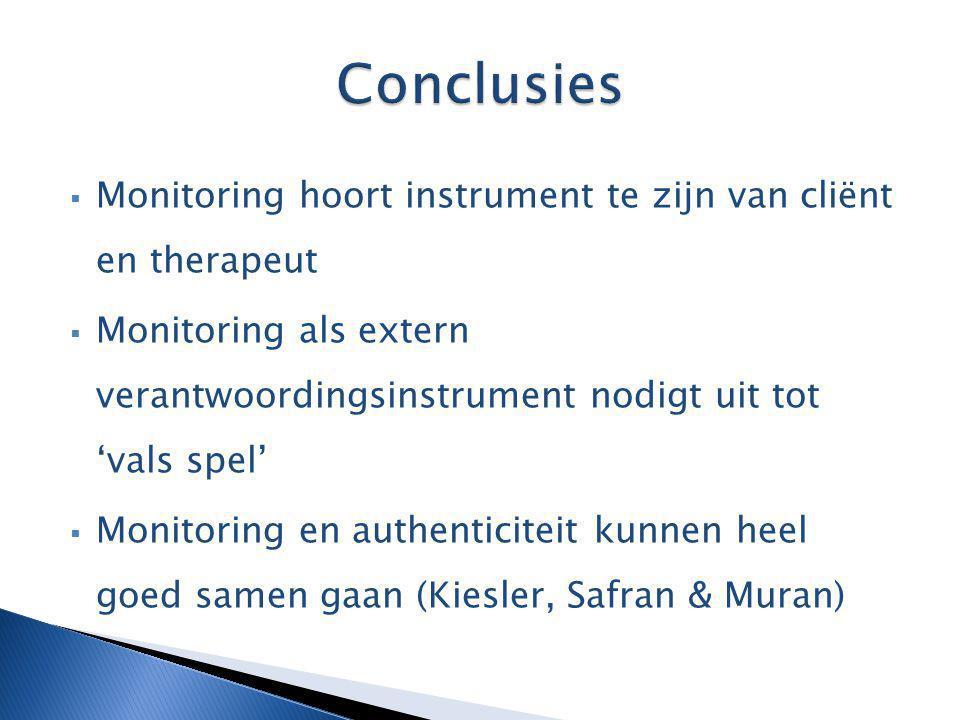 Conclusies Monitoring hoort instrument te zijn van cliënt en therapeut
