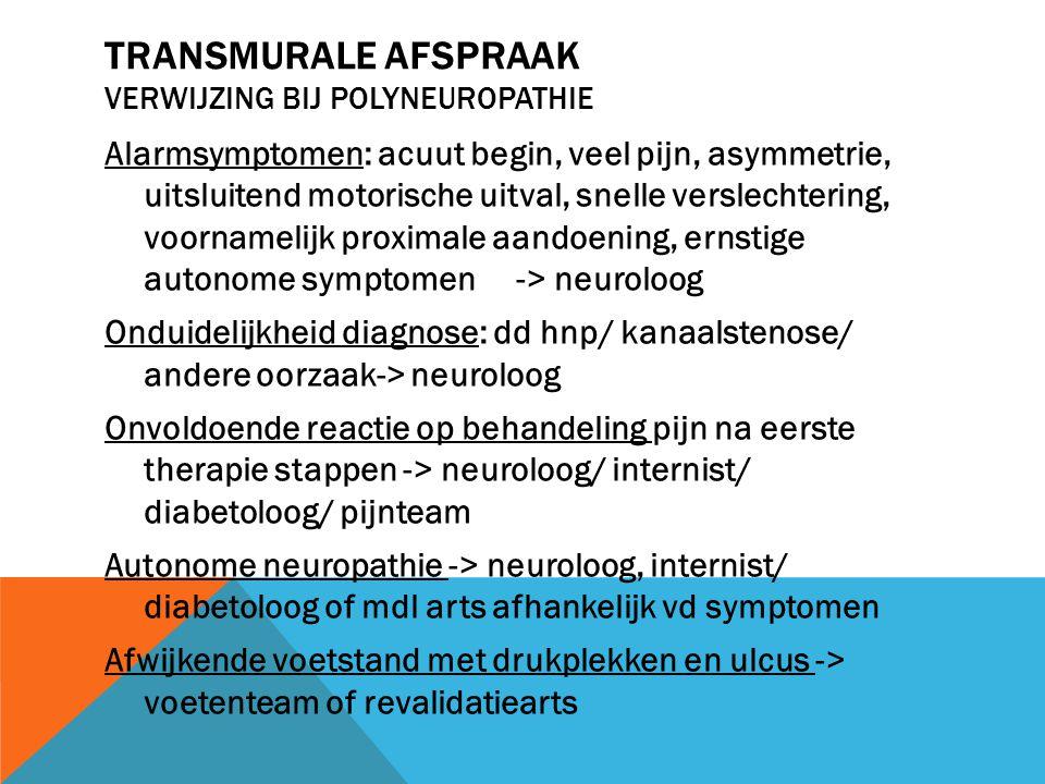 Transmurale afspraak verwijzing bij polyneuropathie