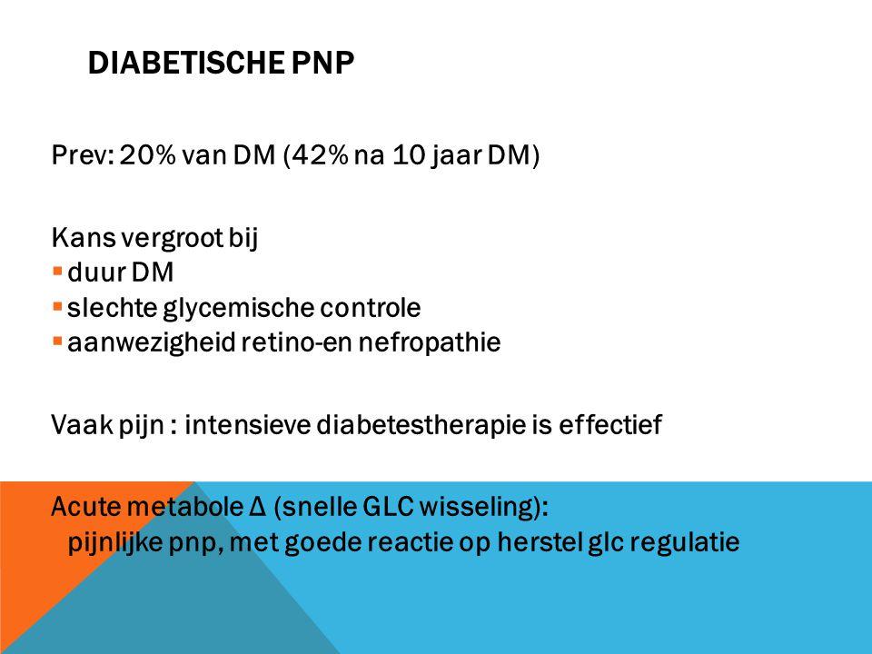 Diabetische pnp Prev: 20% van DM (42% na 10 jaar DM) Kans vergroot bij