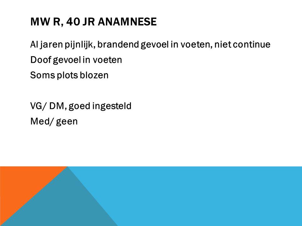 Mw R, 40 jr Anamnese