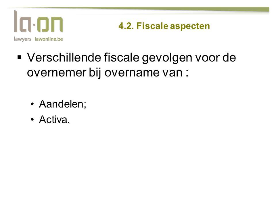 Verschillende fiscale gevolgen voor de overnemer bij overname van :