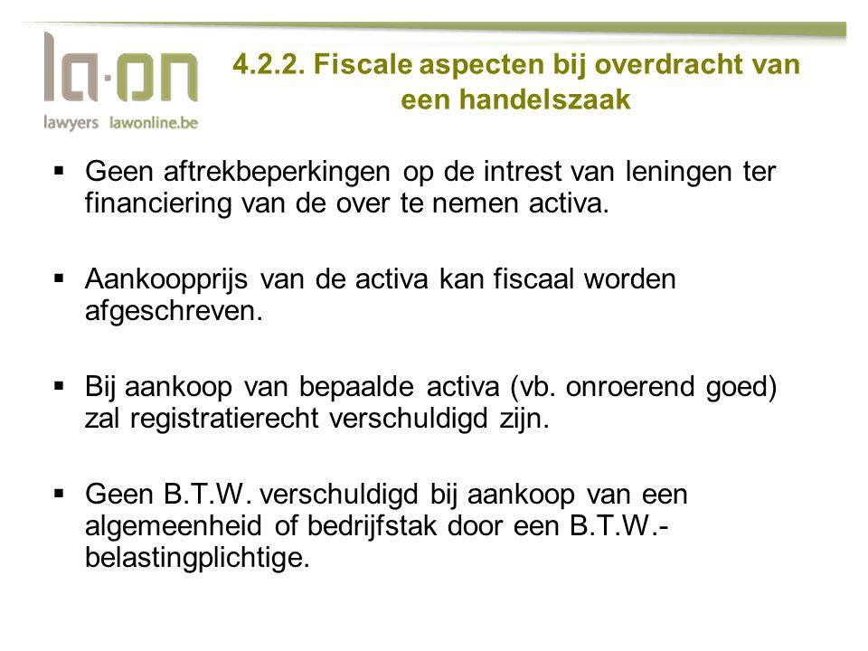 4.2.2. Fiscale aspecten bij overdracht van een handelszaak