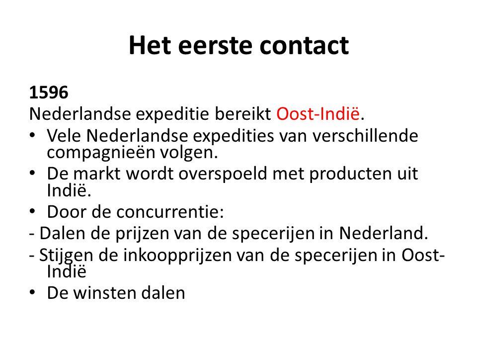 Het eerste contact 1596 Nederlandse expeditie bereikt Oost-Indië.