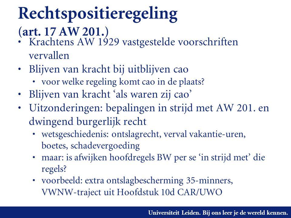 Rechtspositieregeling (art. 17 AW 201.)