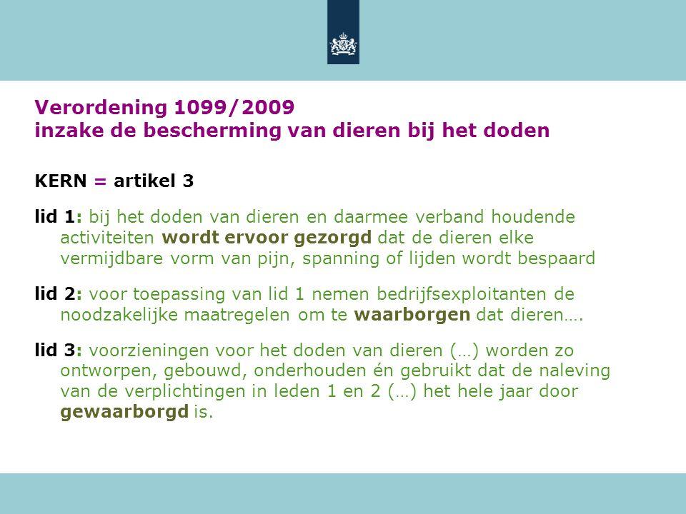 Verordening 1099/2009 inzake de bescherming van dieren bij het doden