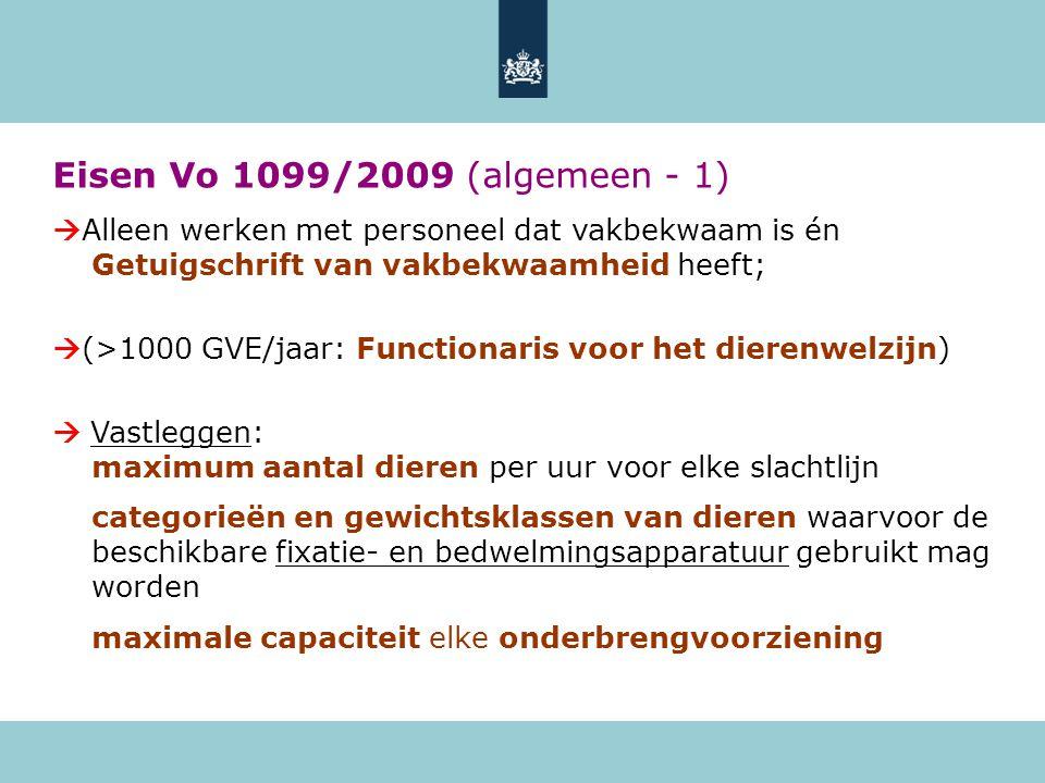 Eisen Vo 1099/2009 (algemeen - 1) Alleen werken met personeel dat vakbekwaam is én Getuigschrift van vakbekwaamheid heeft;