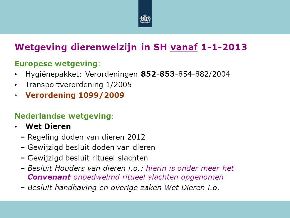 Wetgeving dierenwelzijn in SH vanaf 1-1-2013
