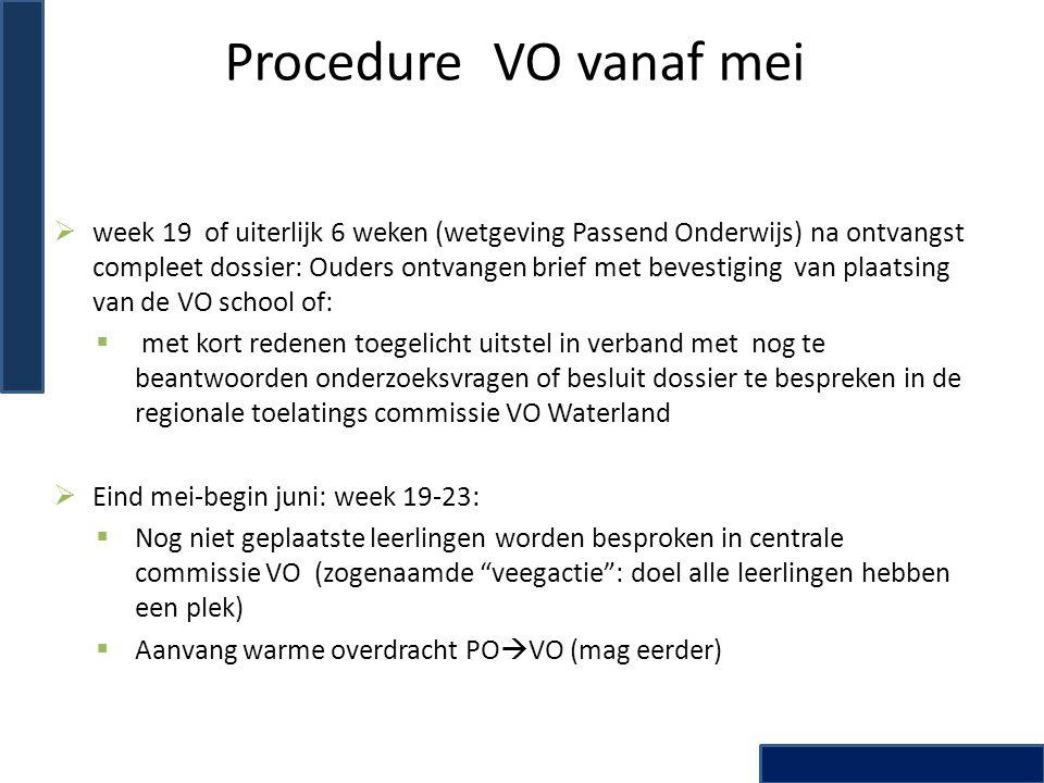 Procedure VO vanaf mei