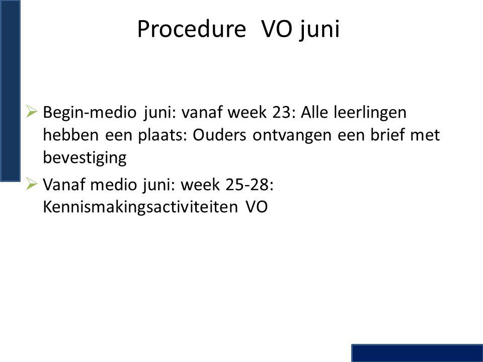 Procedure VO juni Begin-medio juni: vanaf week 23: Alle leerlingen hebben een plaats: Ouders ontvangen een brief met bevestiging.
