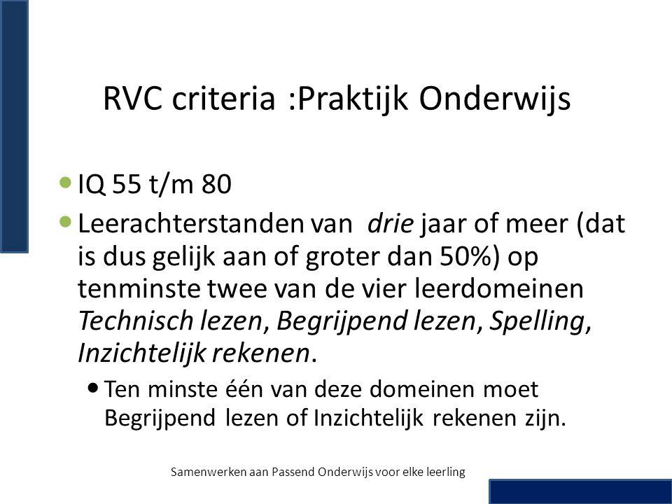RVC criteria :Praktijk Onderwijs