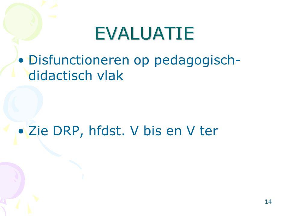 EVALUATIE Disfunctioneren op pedagogisch-didactisch vlak