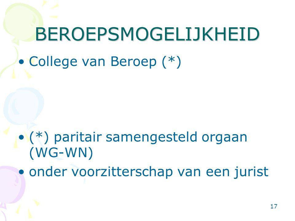BEROEPSMOGELIJKHEID College van Beroep (*)