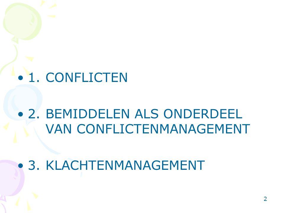 1. CONFLICTEN 2. BEMIDDELEN ALS ONDERDEEL VAN CONFLICTENMANAGEMENT 3. KLACHTENMANAGEMENT