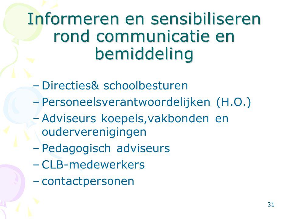 Informeren en sensibiliseren rond communicatie en bemiddeling