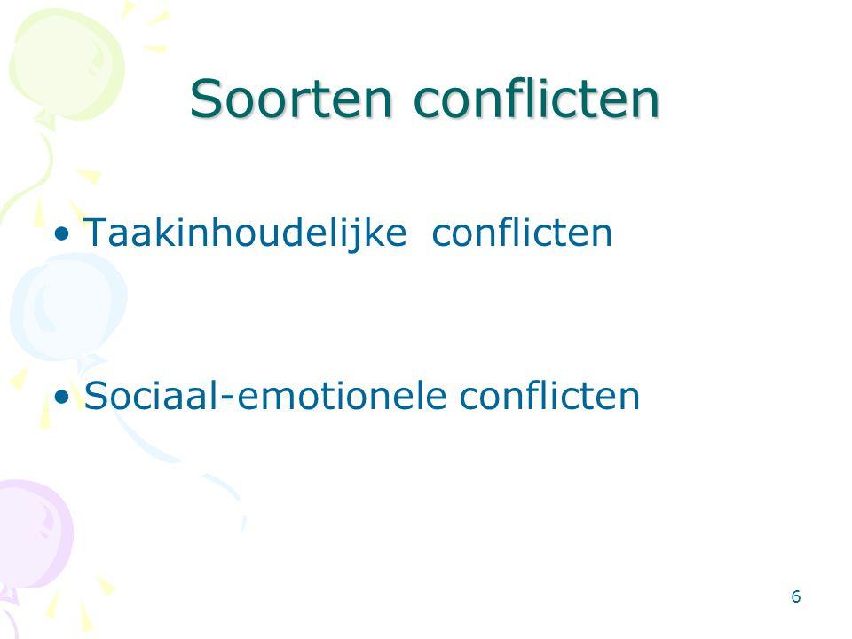 Soorten conflicten Taakinhoudelijke conflicten