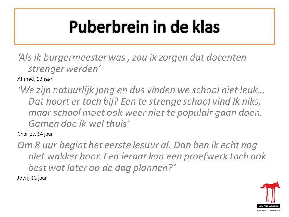 Puberbrein in de klas 'Als ik burgermeester was , zou ik zorgen dat docenten strenger werden' Ahmed, 13 jaar.