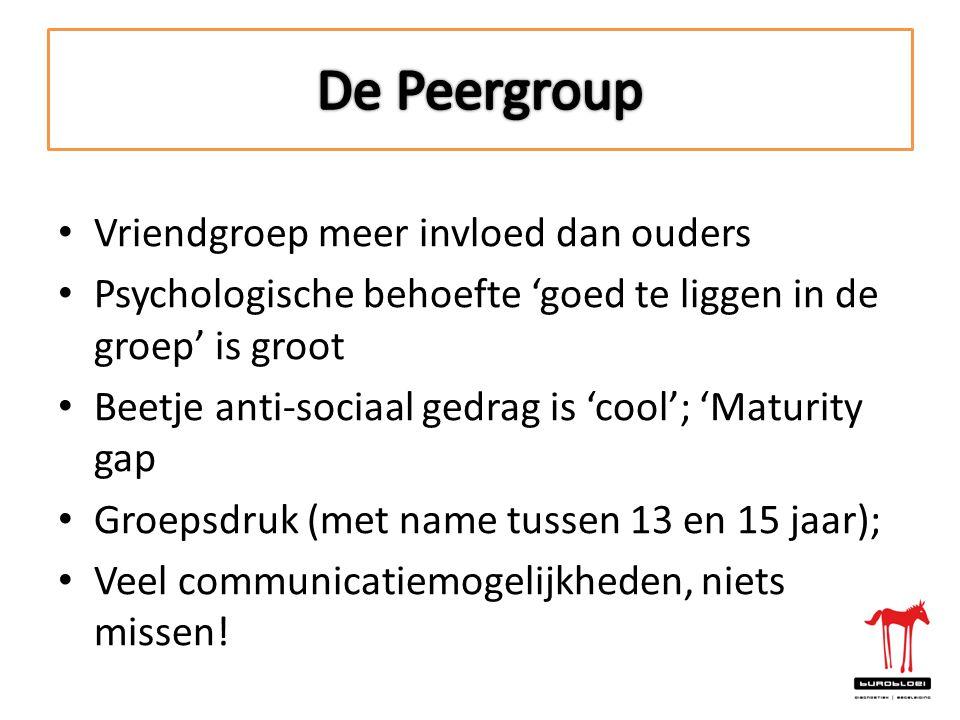 De Peergroup Vriendgroep meer invloed dan ouders