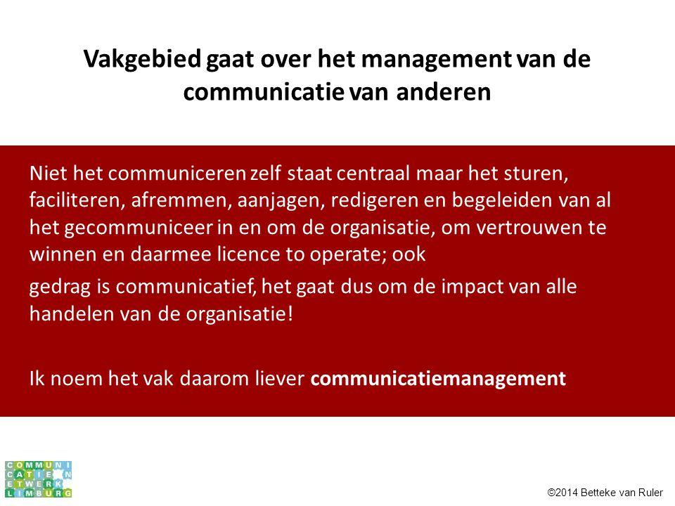 Vakgebied gaat over het management van de communicatie van anderen