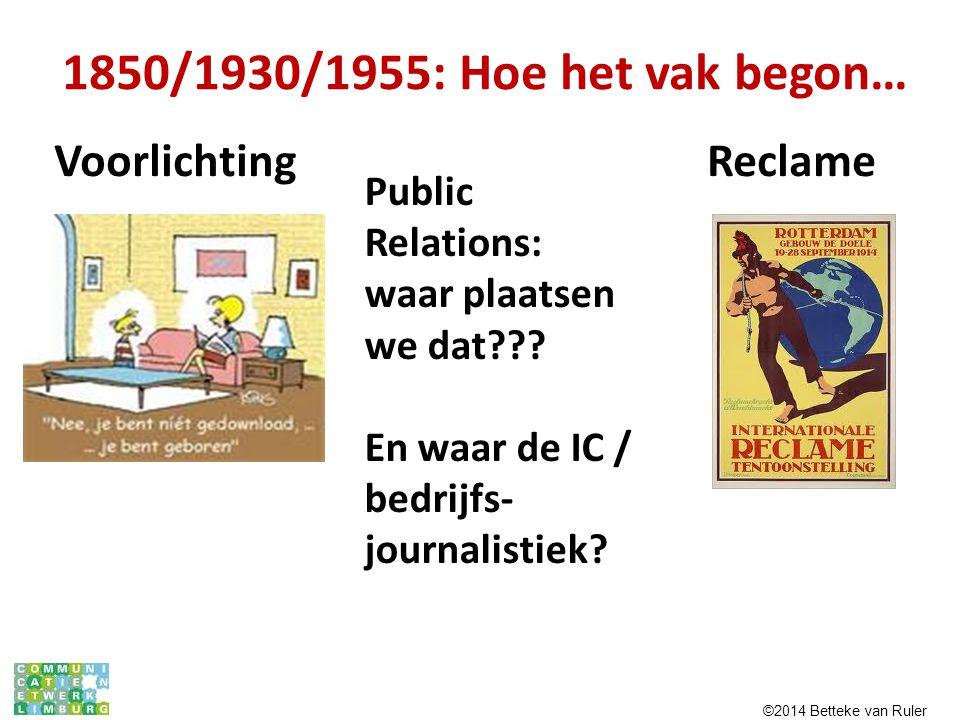 1850/1930/1955: Hoe het vak begon… Voorlichting Reclame