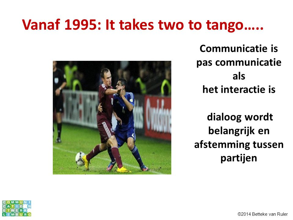 Vanaf 1995: It takes two to tango…..
