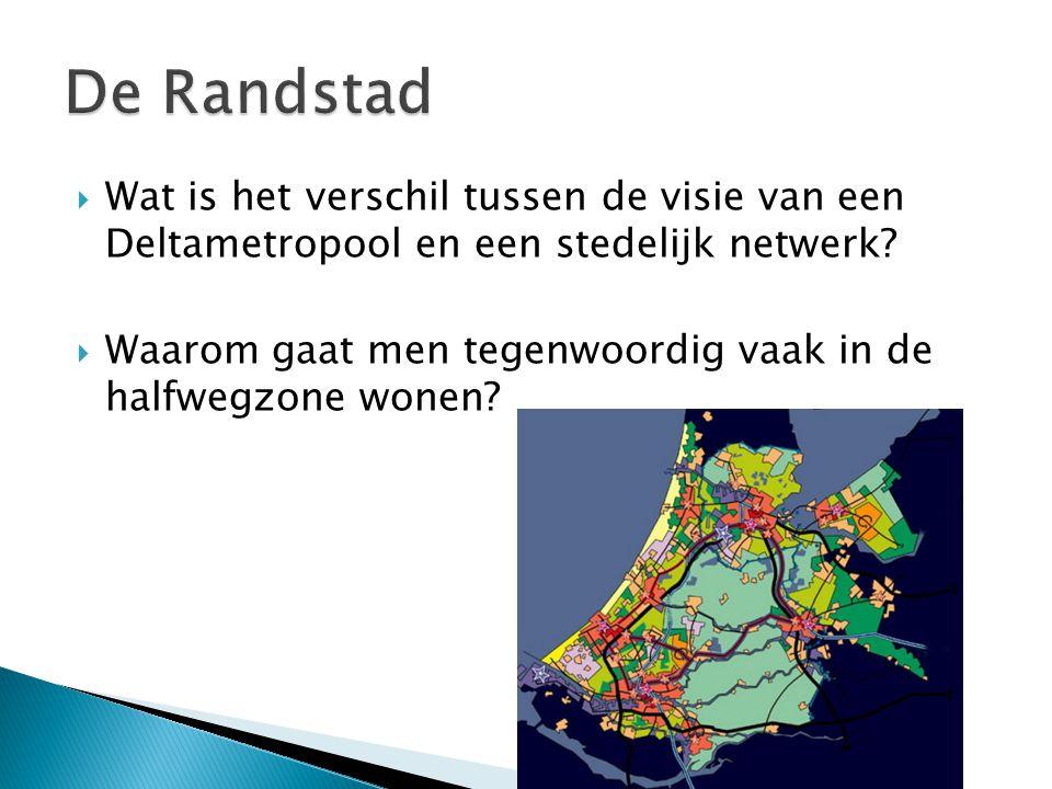 De Randstad Wat is het verschil tussen de visie van een Deltametropool en een stedelijk netwerk