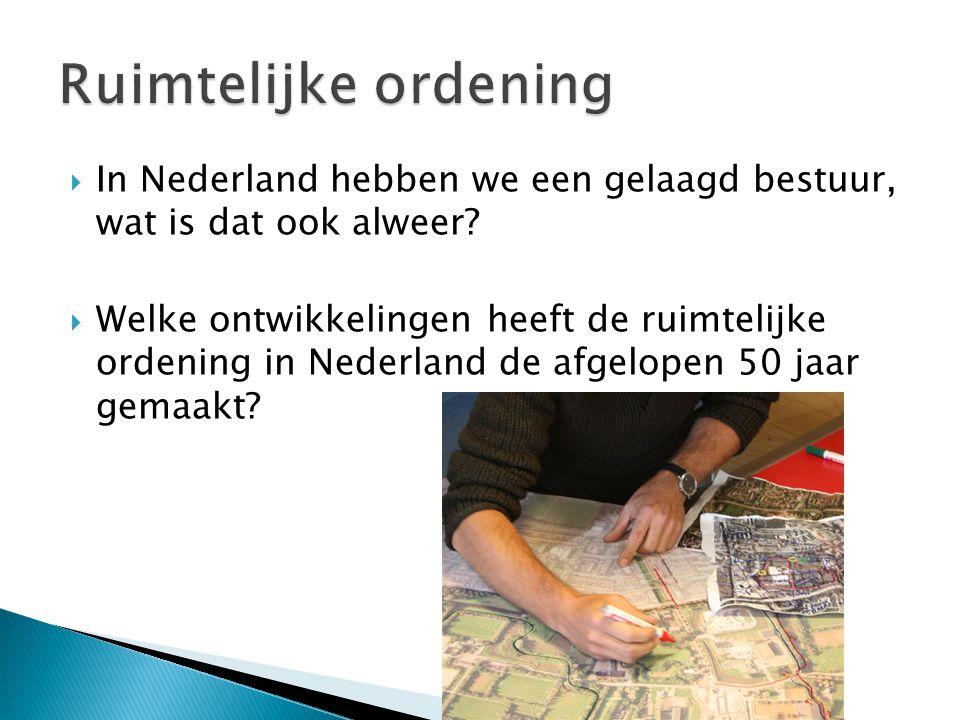 Ruimtelijke ordening In Nederland hebben we een gelaagd bestuur, wat is dat ook alweer