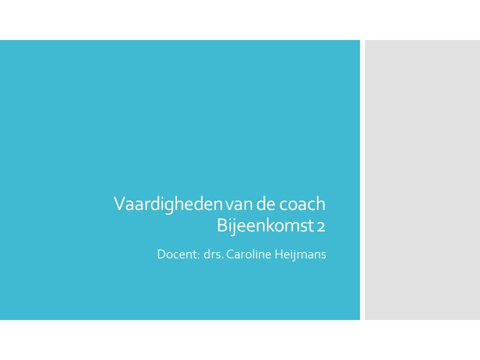 Vaardigheden van de coach Bijeenkomst 2
