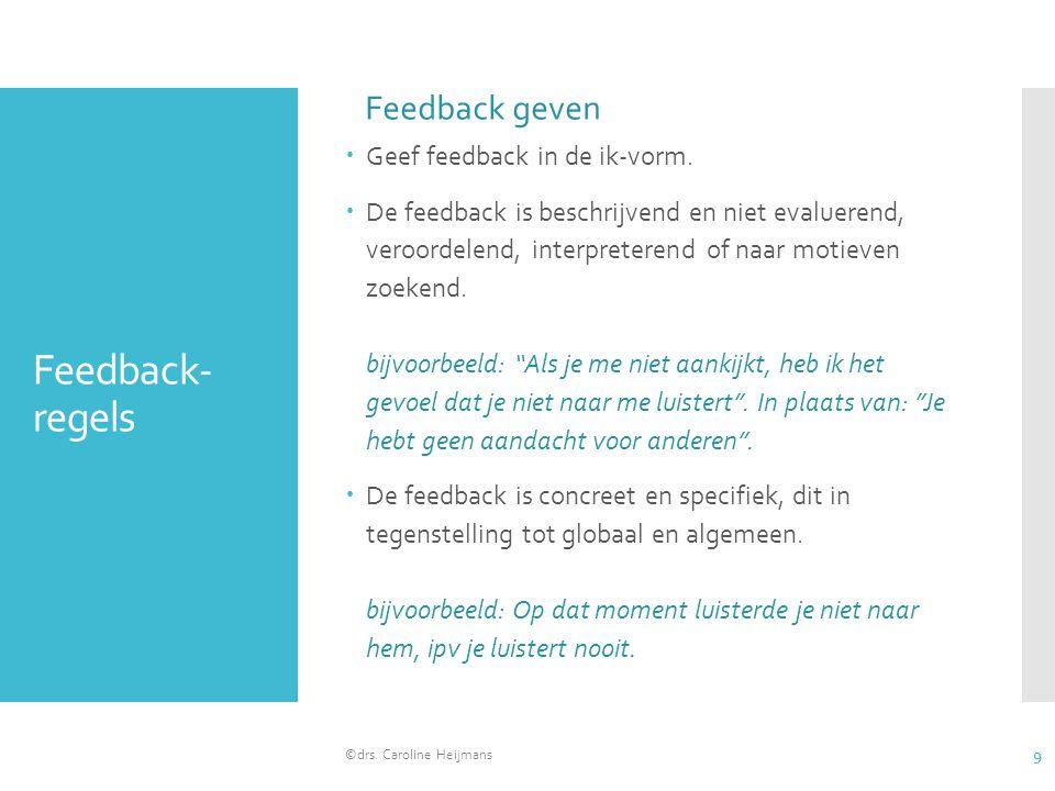 Feedback-regels Feedback geven Geef feedback in de ik-vorm.