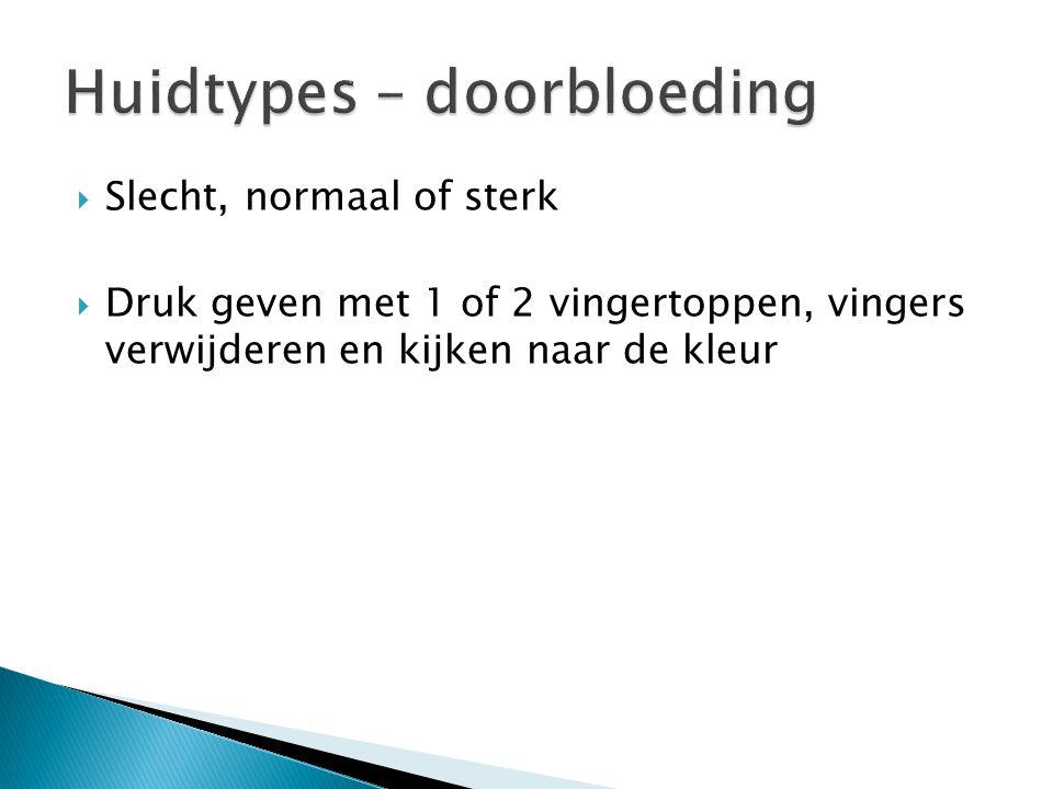 Huidtypes – doorbloeding