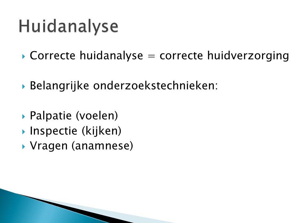 Huidanalyse Correcte huidanalyse = correcte huidverzorging