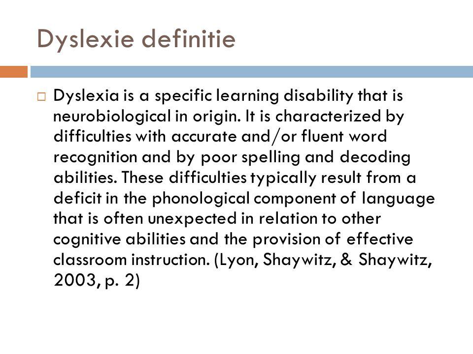 Dyslexie definitie