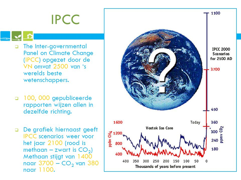 IPCC The Inter-governmental Panel on Climate Change (IPCC) opgezet door de VN omvat 2500 van 's werelds beste wetenschappers.