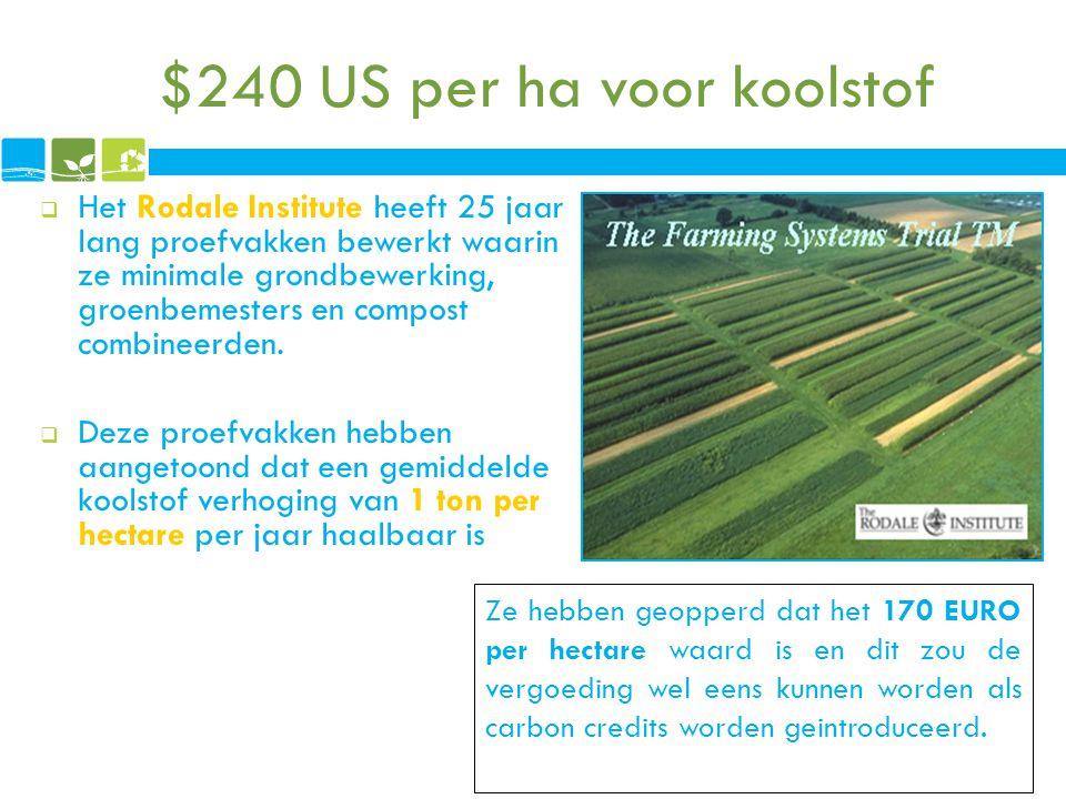 $240 US per ha voor koolstof