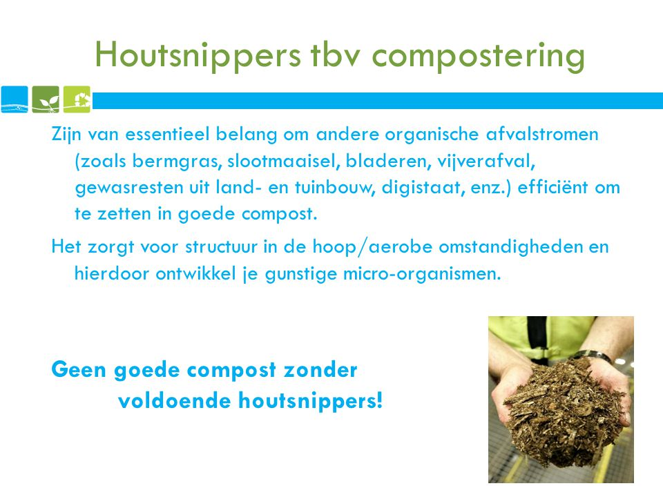 Houtsnippers tbv compostering