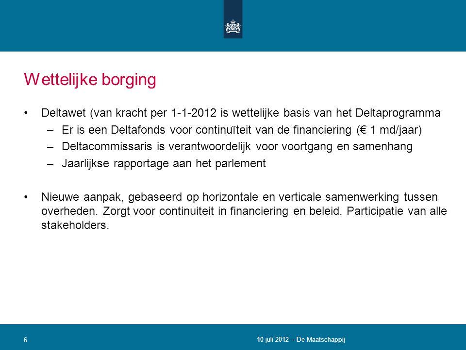 Wettelijke borging Deltawet (van kracht per 1-1-2012 is wettelijke basis van het Deltaprogramma.