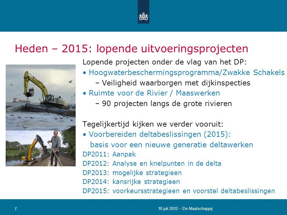 Heden – 2015: lopende uitvoeringsprojecten