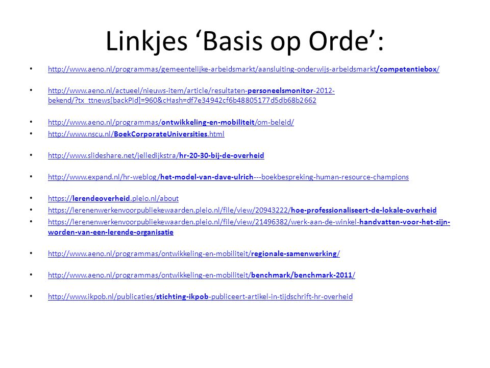 Linkjes 'Basis op Orde':