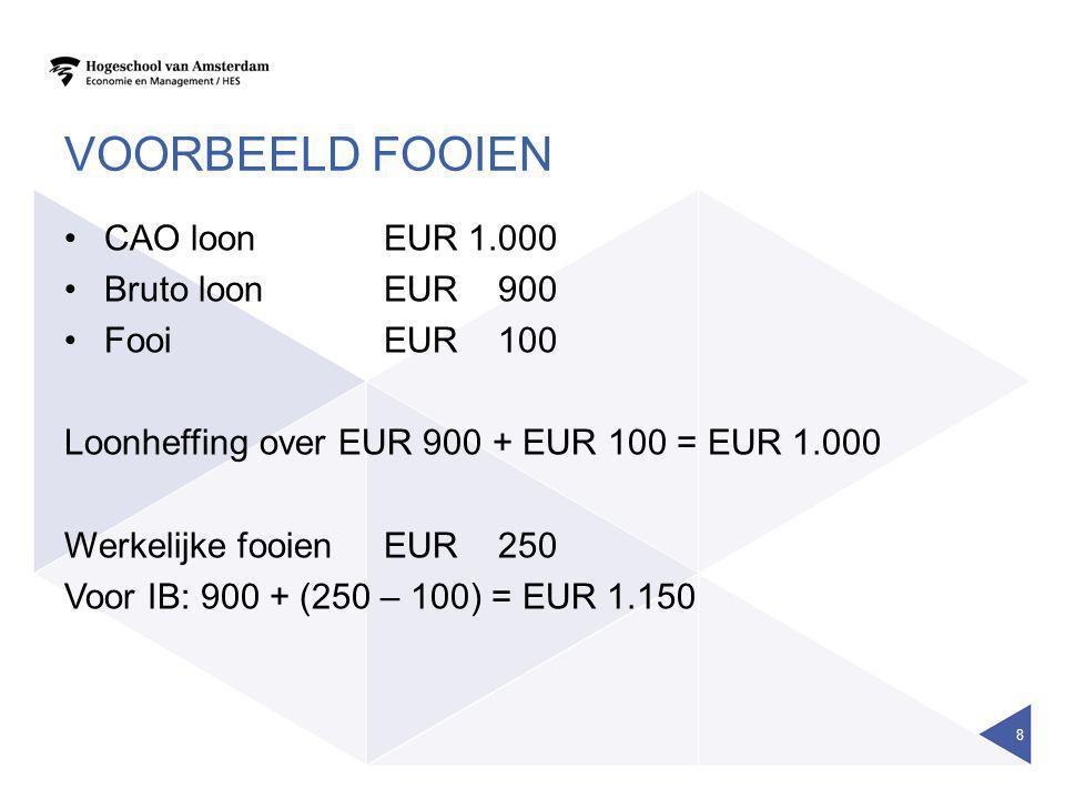 Voorbeeld fooien CAO loon EUR 1.000 Bruto loon EUR 900 Fooi EUR 100