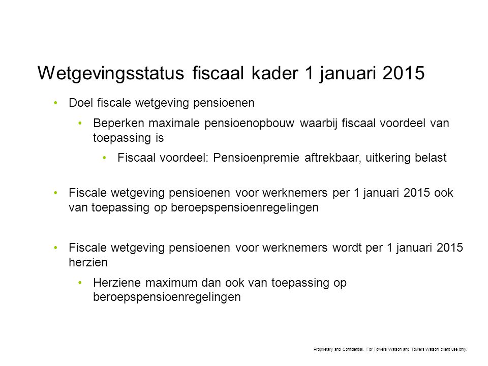 Wetgevingsstatus fiscaal kader 1 januari 2015