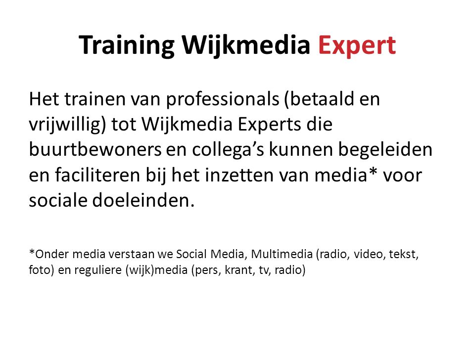 Training Wijkmedia Expert