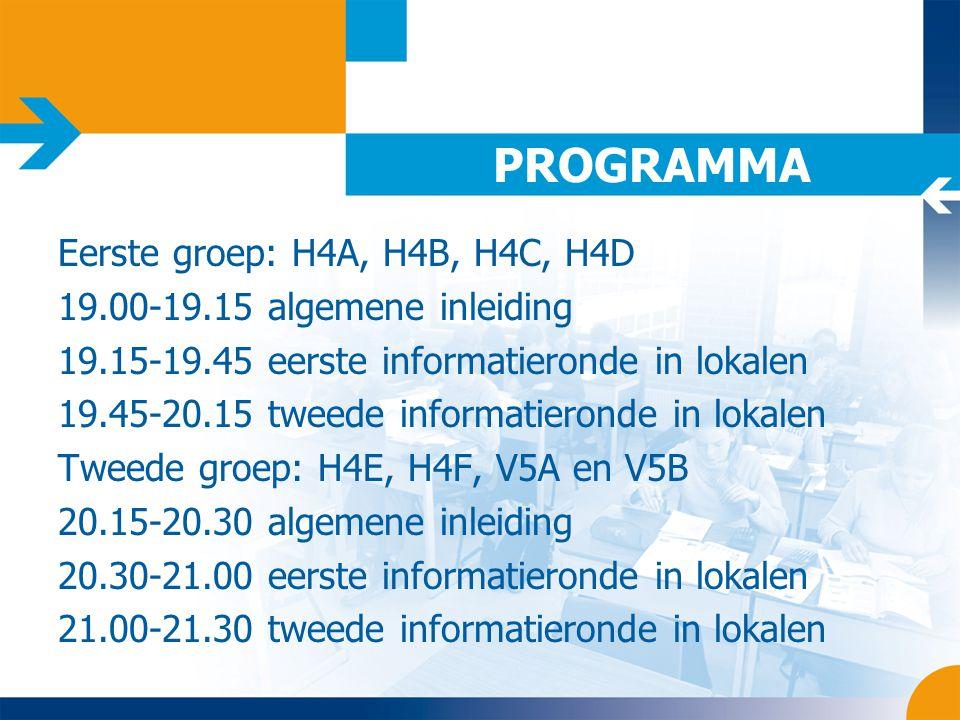 PROGRAMMA Eerste groep: H4A, H4B, H4C, H4D