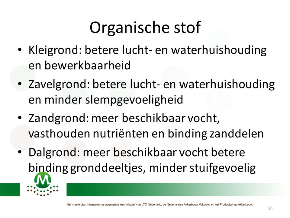 Organische stof Kleigrond: betere lucht- en waterhuishouding en bewerkbaarheid.