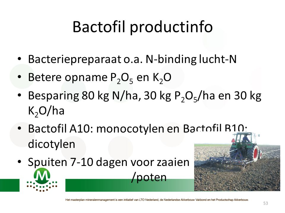 Bactofil productinfo Bacteriepreparaat o.a. N-binding lucht-N