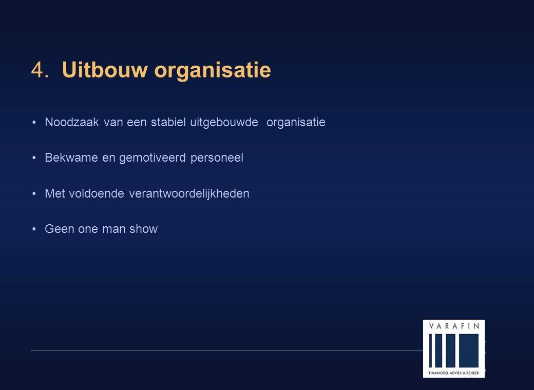 4. Uitbouw organisatie Noodzaak van een stabiel uitgebouwde organisatie. Bekwame en gemotiveerd personeel.