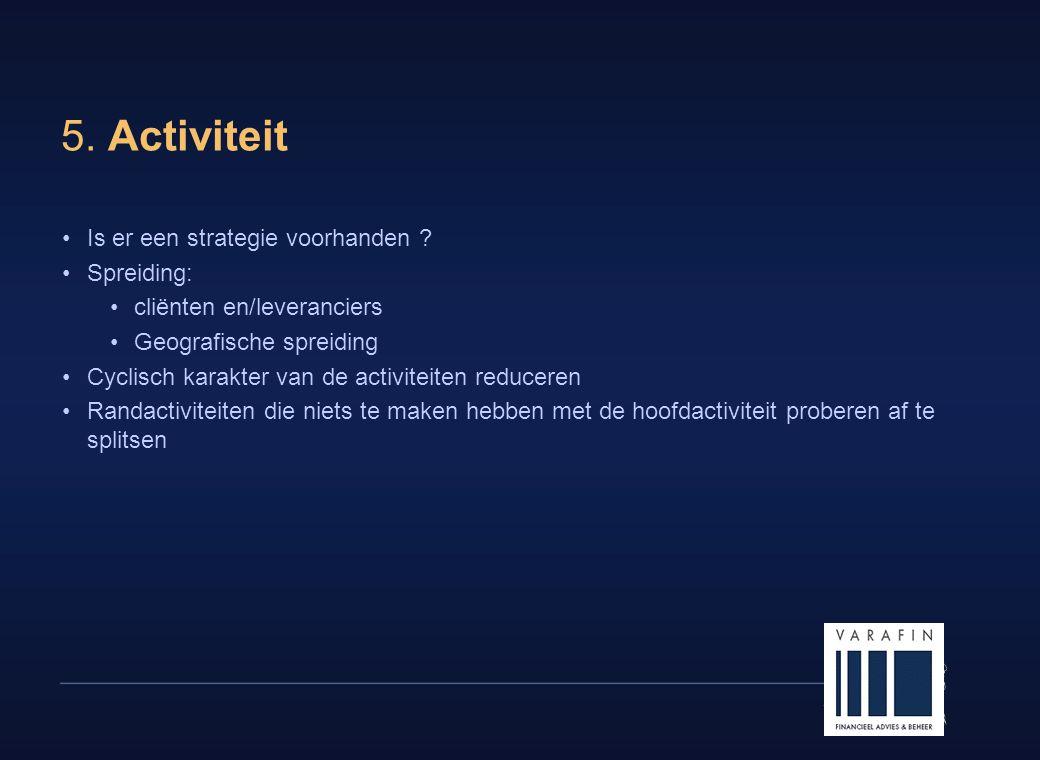 5. Activiteit Is er een strategie voorhanden Spreiding: