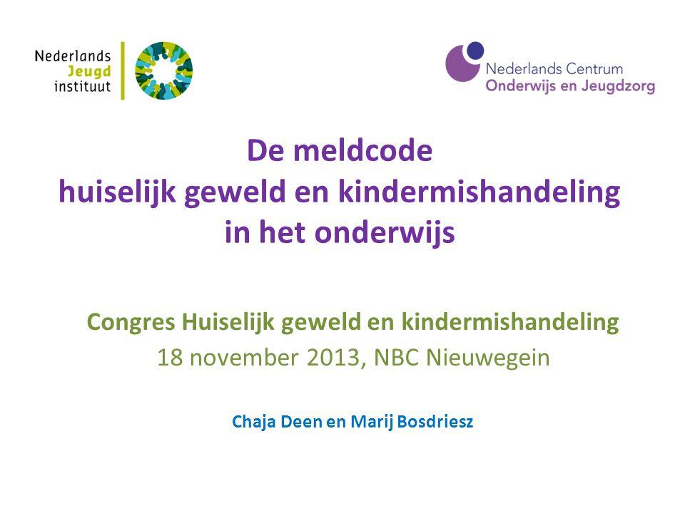 De meldcode huiselijk geweld en kindermishandeling in het onderwijs